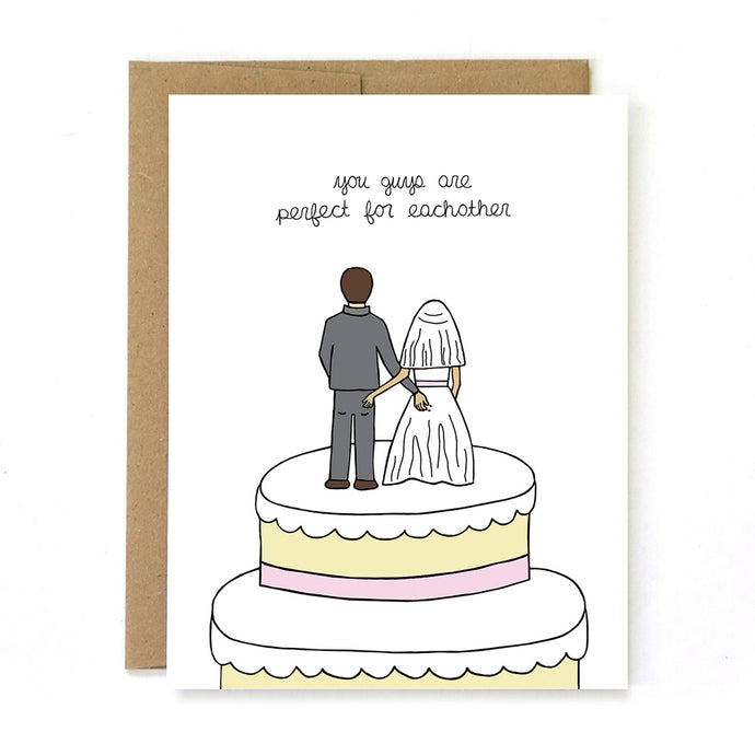 You Guys are Prefect Cake Toppers Wedding Card