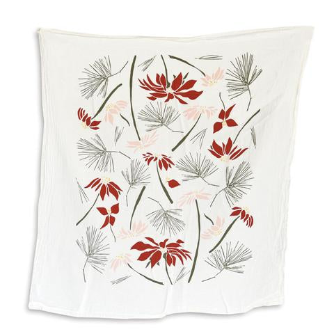 Poinsettia & Pine Cones Holiday Kitchen Tea Towel