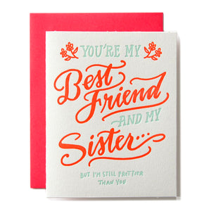 Best Friend Sister Letterpress Card