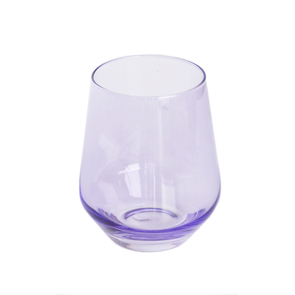 Handblown Lavender Purple Colored Stemless Wine Glass