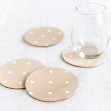 Leather White Polka Dot Coasters (Set of 4)