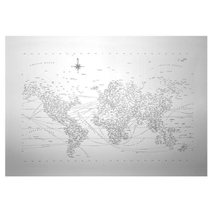 "Typographic World Map 20"" x 29"" Letterpress"
