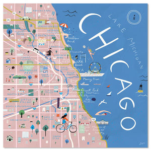 "Chicago Illustrated Map 12"" x 12"" Archival Print"