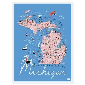 "Michigan State Illustrated Map 11"" x 14"" Archival Print"