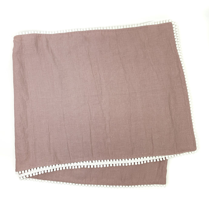 Linen Table Runner with White Pom Trim
