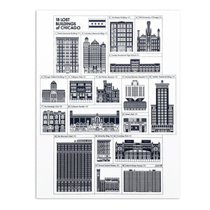 "Lost Buildings of Chicago 17"" x 22"" Print"