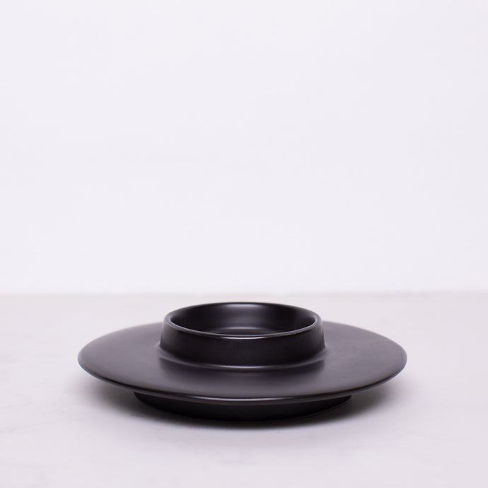 Black Ceramic Incense or Candle Burn Plate