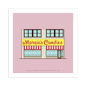 "Margie's Candies Chicago Storefront 8"" x 8"" Archival Print"
