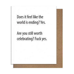 World Ending Still Celebrating Letterpress Quarantine Card