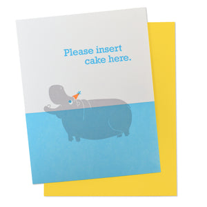 Insert Cake Hippo Happy Birthday Card