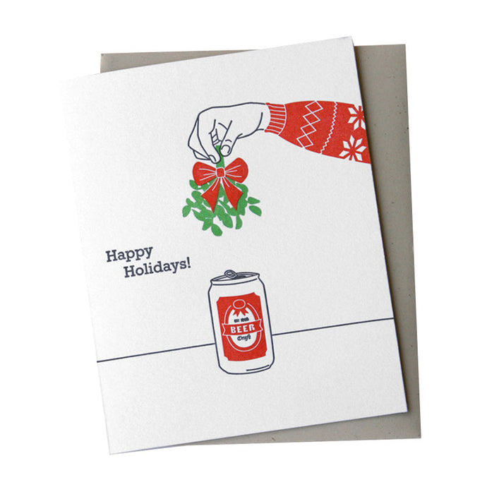 Beer and Mistletoe Holiday Card