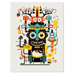 "Music Monster 16"" x 20"" Screen Print"