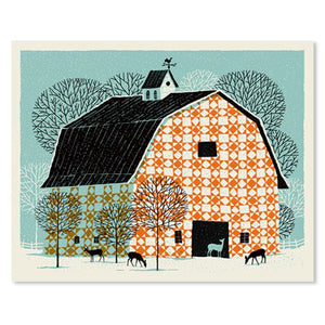 "Quilt Pattern Barn 16"" x 20"" Screen Print"