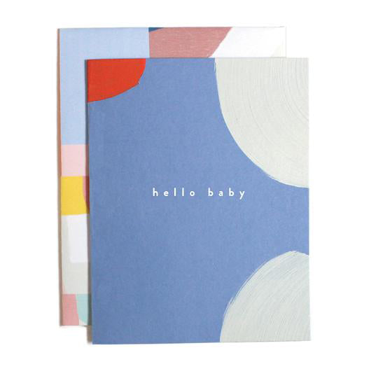 Hello Baby Blue Brushstrokes Card