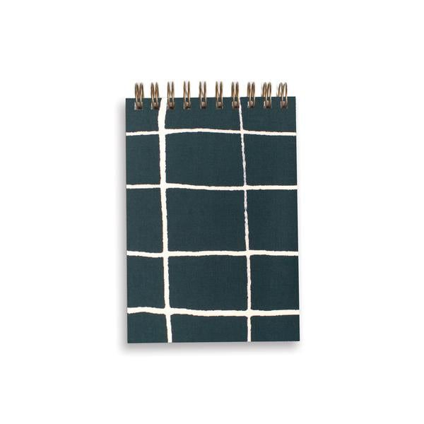 Mini Green Grid Spiral Notebook