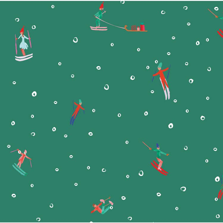 Ski Slopes Holiday Gift Wrap (Roll of 3 Sheets)