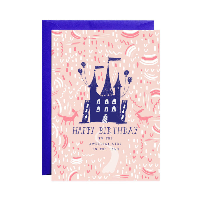 Sweetest Girl Castle Birthday Card