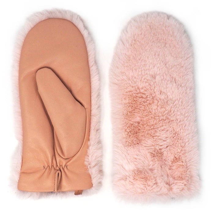 Leather and Faux Fur Driving Mittens