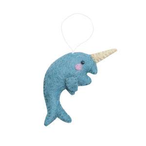 Fair Trade Felt Narwhal Ornament