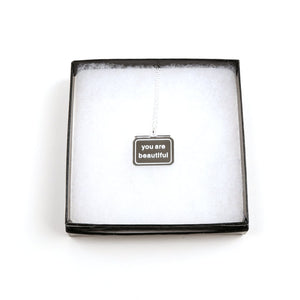 You Are Beautiful Mirrored Charm Necklace
