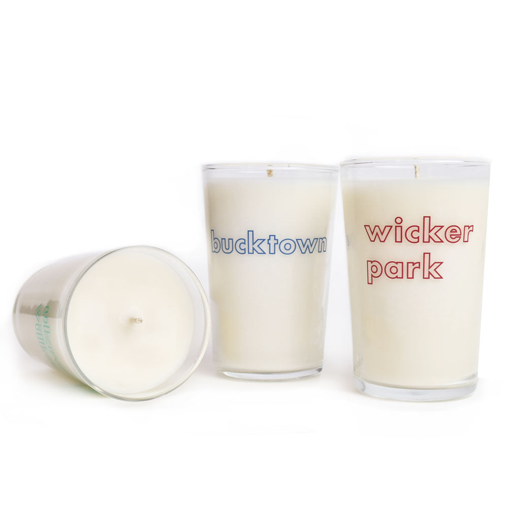 Chicago West Town Area Neighborhood Glass Candle