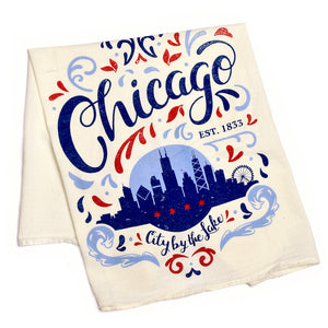 City by the Lake Kitchen Tea Towel