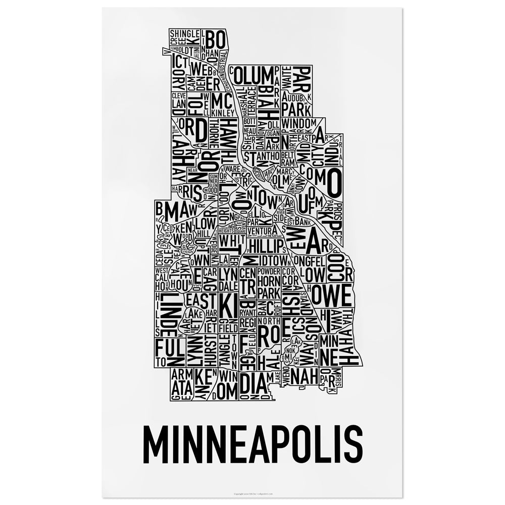 Minneapolis Neighborhood Map Poster