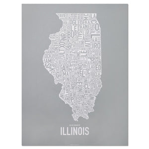 "Illinois Typographic County Map 18"" x 24"" Screen Print"