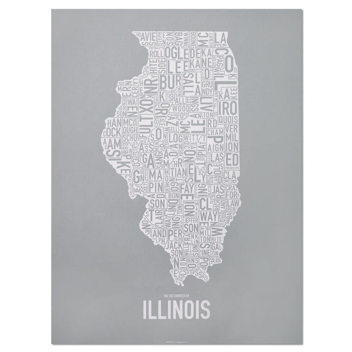 Illinois Typographic County Map 18