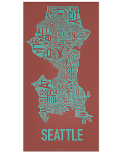 Seattle Typographic Neighborhood Map Poster