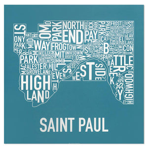 "St. Paul Neighborhood Map 20"" x 20"" Poster"