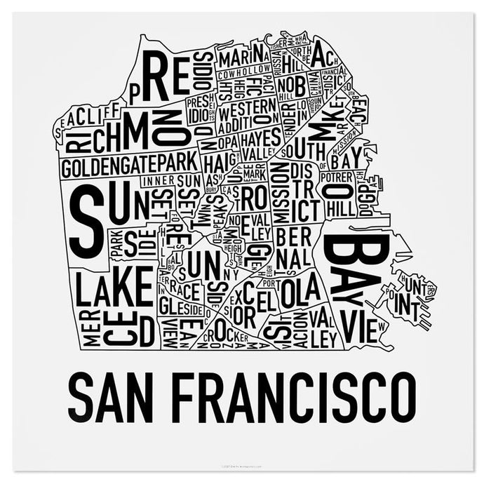 San Francisco Typographic Neighborhood Map Poster