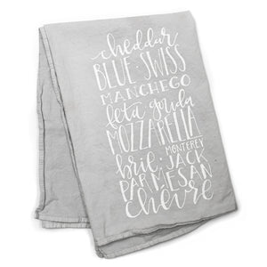 Calligraphy Cheese Enthusiast Kitchen Towel