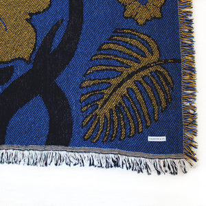 "Tropical Floral Dark Blue & Gold 44"" x 68"" Woven Throw Blanket"