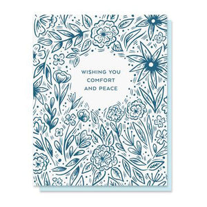 Comfort & Peace Blooms Letterpress Card