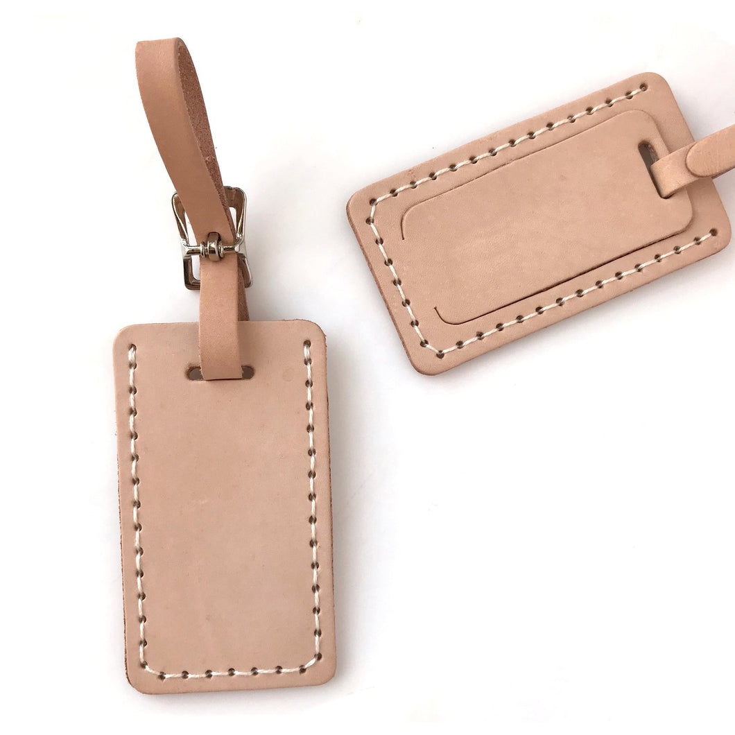 Leather Light Tan Luggage Tag