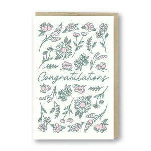 Congratulations Flowers Letterpress Card