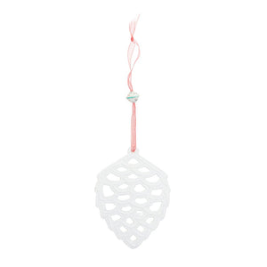 Fair Trade White Metal Pinecone Holiday Ornament