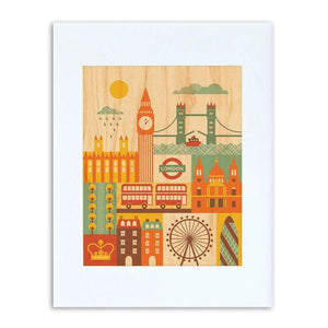 "London Illustration 8"" x 10"" Print on Wood"