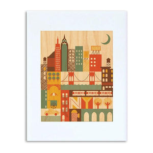 "New York City Illustrated 8"" x 10"" Print on Wood"