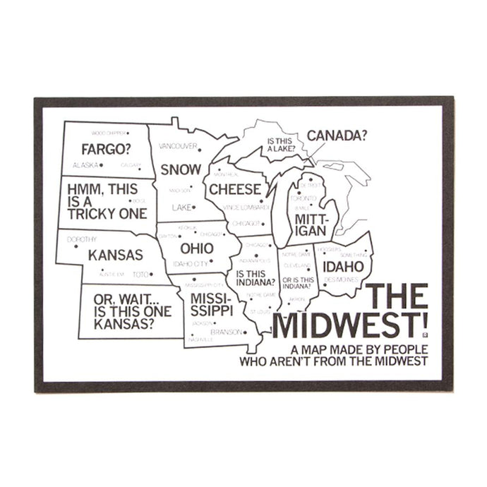 Midwest Map Postcard
