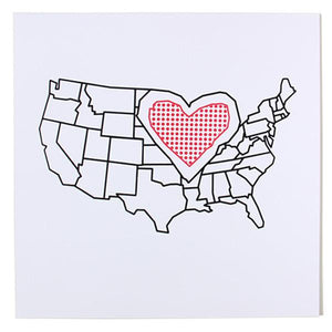 "Heartland USA Map 18"" x 18"" Print"