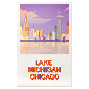 "Lake Michigan 11"" x 17"" Illustrated Poster"
