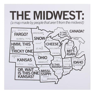 "Midwest Map 18"" x 18"" Print"