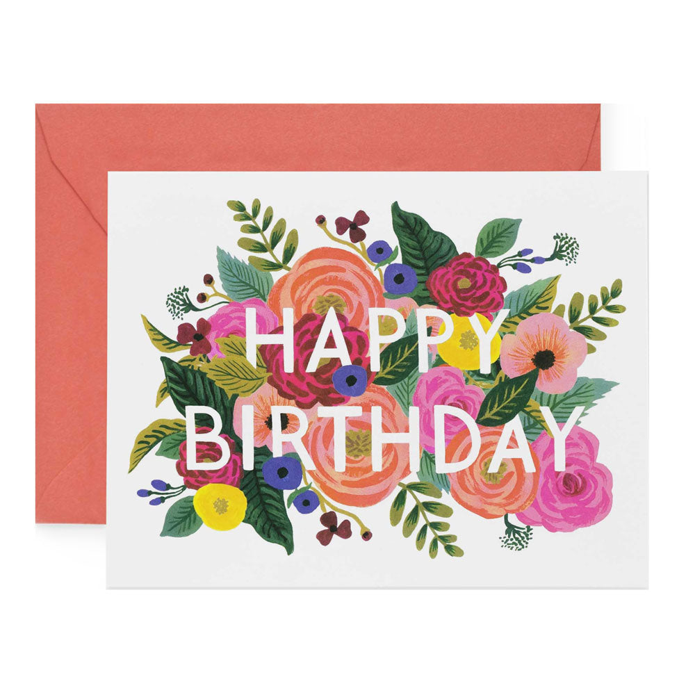 Juliet Rose Floral Happy Birthday Greeting Card