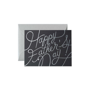Happy Father's Day Platinum Silver Script Greeting Card