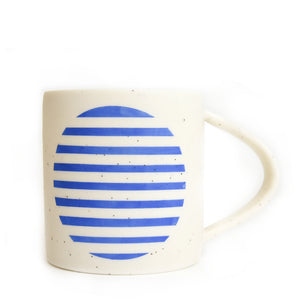 Cobalt Horizontal Full Moon on Speckled Porcelain Mug