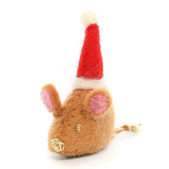 Santa Mouse Felt Cat Toy