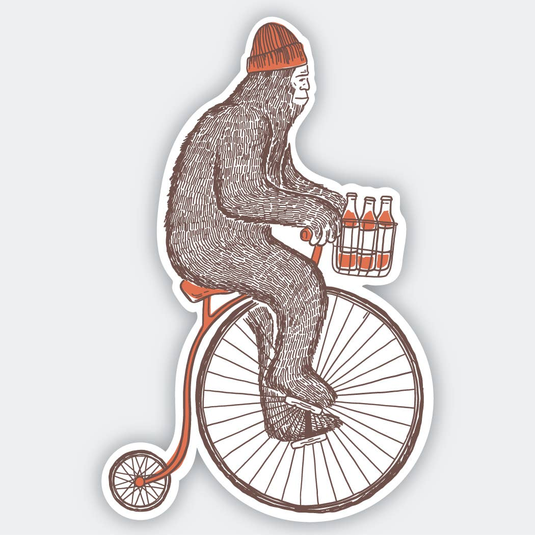 Sasquatch on a Bike with Beer Sticker
