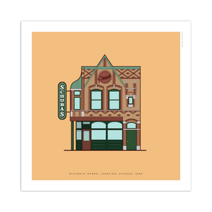 "Schuba's Chicago Storefront 8"" x 8"" Archival Print"